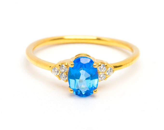 Solid Gold Genuine Blue Topaz Engagement Ring Gold Halo Wedding Ring Proposal Ring Gold Minimalist Gold Engagement Ring Diamond CZ