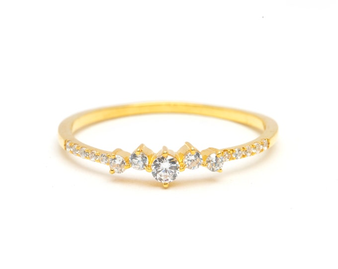 Solid 14K Gold Engagement Ring Gold Halo Wedding Ring Proposal Ring Gold Minimalist Gold Engagement Ring Diamond CZ
