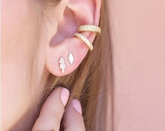 Or 18K Bijou d/'oreille Set Pave oreille poignets oreille Wrap non percés Bijou d/'oreille Set Oreille