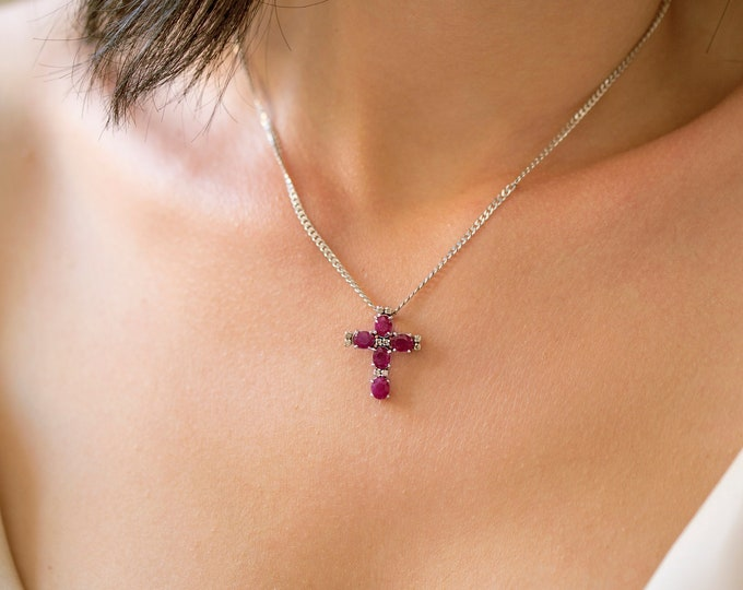 Solid 18K Gold Cross Necklace With Genuine Rubies And Diamonds, Religious Necklace Cross, Christmas Gift , Diamond Cross, Ruby Cross