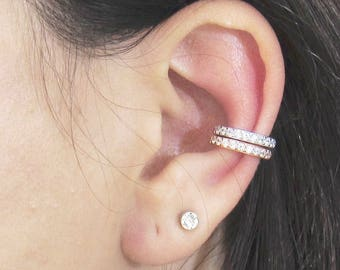 Solid Gold Ear Cuff, CZ Pave Ear Cuff, 10K Gold EarCuffs, Non Pierced Ear Cuff, Ear Wrap, Single Row CZ Ear Cuff, Real Gold Ear Cuff
