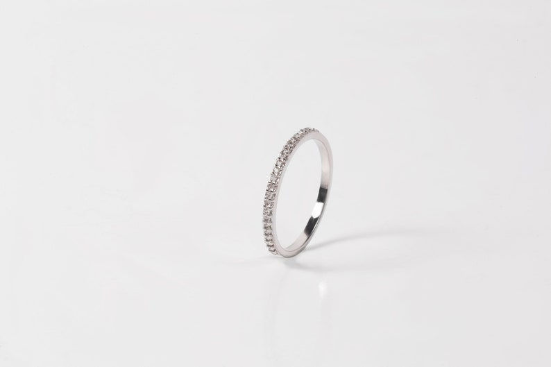 Half Eternity Band CZ Gold Ring Gold Stacking Ring Thin Eternity Ring 14K Solid Gold Half Eternity Ring Engagement Ring Crystal Band