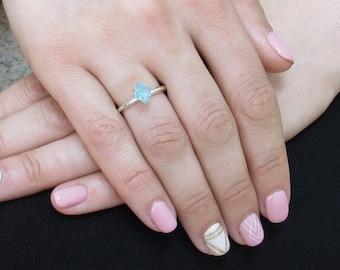 Real Raw Aquamarine Ring, Rough Aquamarine Ring, Uncut Aquamarine Ring, Anniversary Ring, Engagement Ring, Promise Ring, Summer Ring