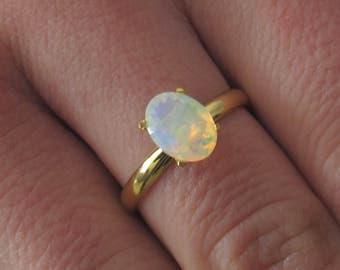 Fire Opal Ring, Rainbow Opal Ring, Fire Opal Engagement Ring, White Opal Ring, Ethiopian Opal Ring, Rainbow Gemstone, Welo Opal