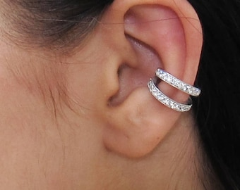 Double Cuff , CZ Pave Ear Cuff, Ear Wrap Earrings, Boho Jewelry, Non Pierced Ear Cuff, Ear Wrap, Double Row CZ, Silver Ear Cuff