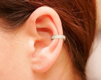 Sterling Silver Ear Cuff, CZ Pave Ear Cuff, 18K Gold Vermeil, Non Pierced Ear Cuff, Ear Wrap, Double Row CZ Ear Cuff