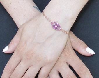 Sterling Silver Evil Eye Bracelet, Rose Gold Evil Eye, Evil Eye Bracelet, Gift For Her, Evil Eye Jewelry, 22k Gold Filled, Petite Evil Eye
