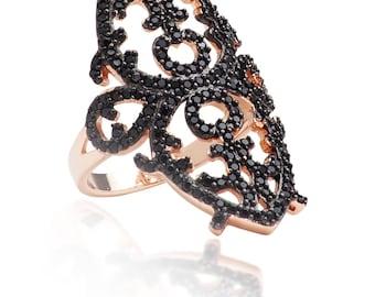 Sterling Silver 18K Rose Gold Vermeil Arabesque Ring