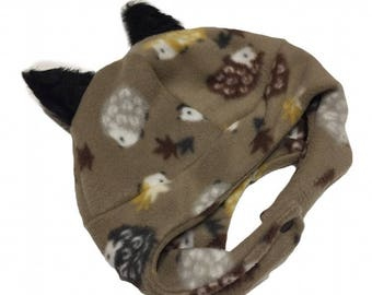 With or Without Ears- Happy Hedgehog Under the Chin Fleece Hat