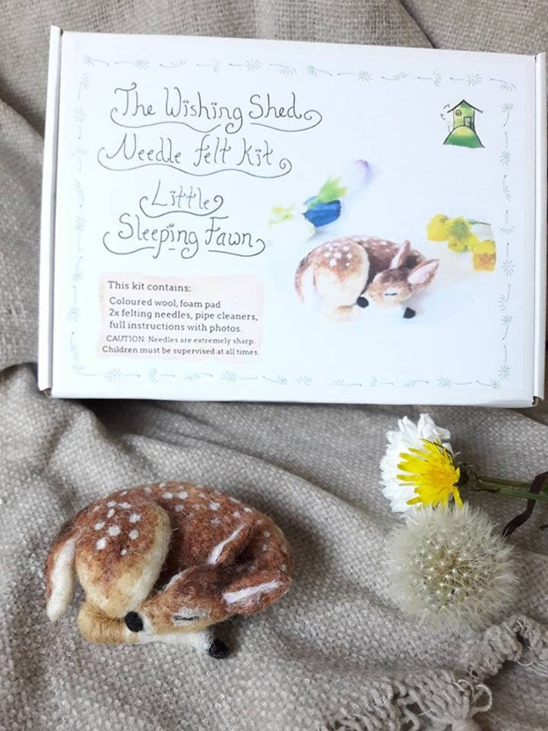 beginner intermediate The Wishing Shed Baby Deer Bambi Decoration  Ornament Gift craft work Needle Felt Little Sleeping Fawn kit