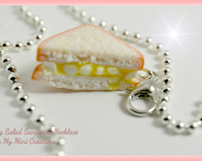 Egg Salad Sandwich Necklace, Miniature Food, Miniature Food Jewelry, Food Jewelry