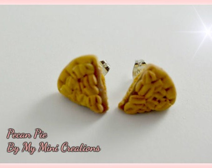 Pecan Pie Stud Earrings,  Miniature food, Miniature Food Jewelry, Polymer Clay