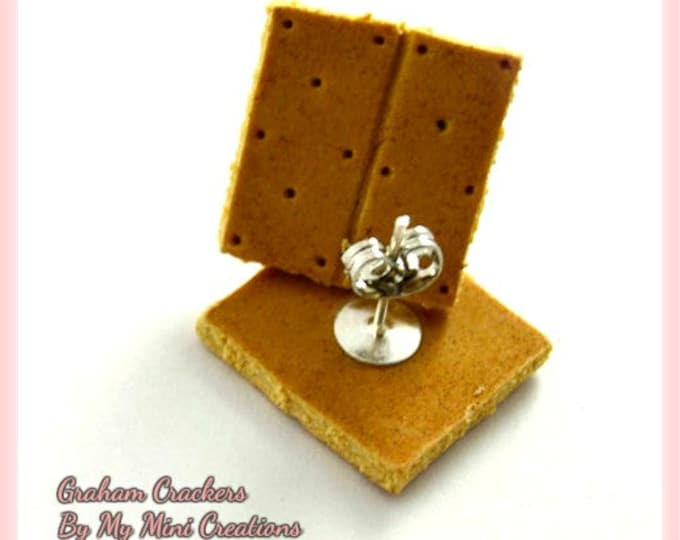 Graham Cracker Stud Earrings, Polymer Clay, Miniature Food, Miniature Food Jewelry