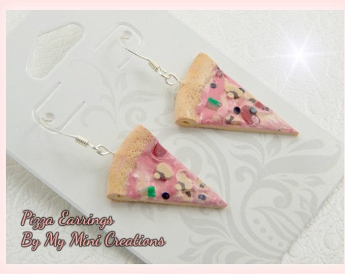 Pizza Earrings, Polymer Clay,  Miniature Food, Miniature Food Jewelry