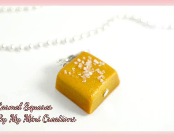 Caramel Squares Charm, Polymer Clay, Miniature Food, Miniature Food Jewelry