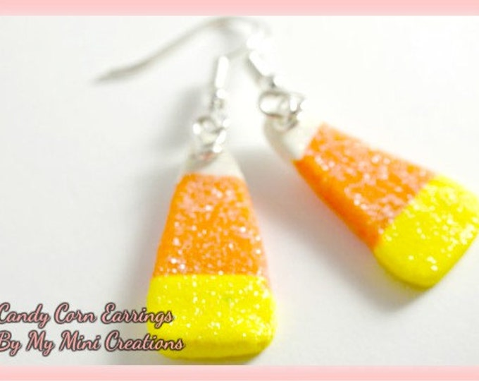 Candy Corn Earrings, Miniature Food, Food Jewelry,  Miniature Food Jewelry