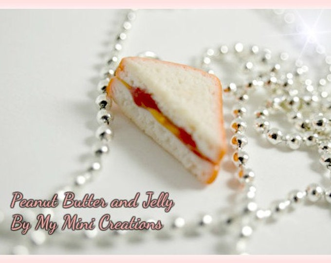 Peanut Butter & Jelly Sandwich Necklace, Miniature Food, Miniature Food Jewelry, Food Jewelry