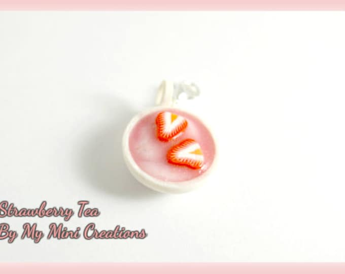 Strawberry Tea Charm, Polymer Clay, Miniature Food, Miniature Food Jewelry