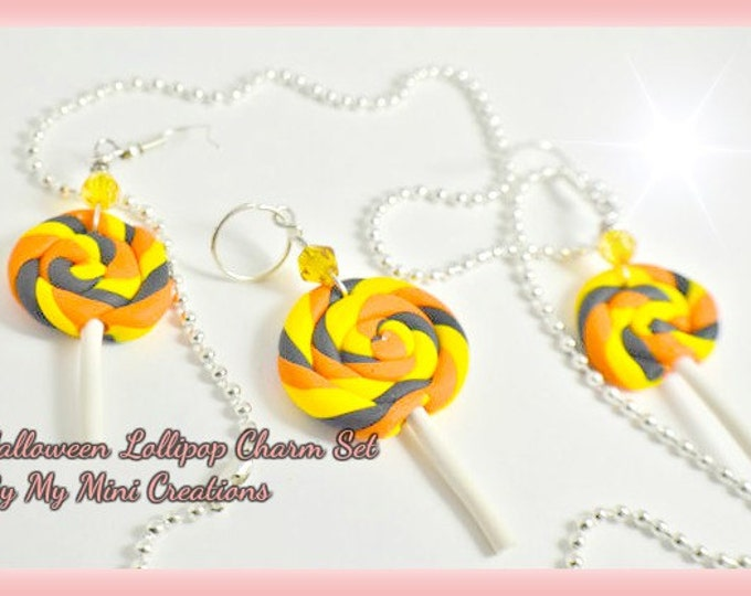 Halloween Lollipop Charm Necklace and Earrings, Miniature Food, Food Jewelry, Miniature Food Jewelry