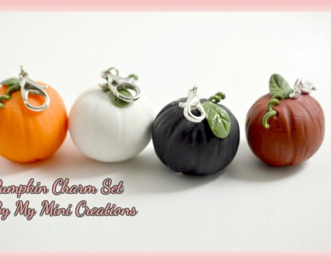 Pumpkin Charm Set, Miniature Food, Miniature Food Jewelry, Food Jewelry