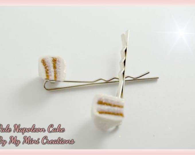 Pale Napoleon Cake Hair Pins, Polymer Clay, Miniature Food, Miniature Food Jewelry