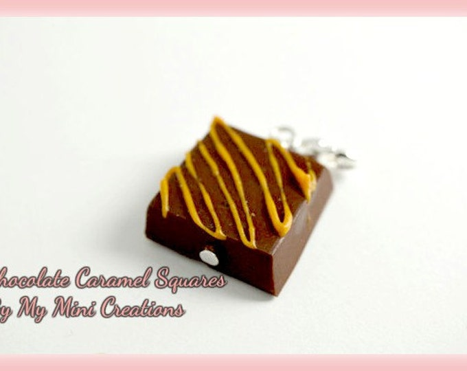 Chocolate Caramel Squares Charm, Polymer Clay, Miniature Food, Miniature Food Jewelry