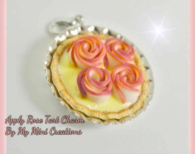 Apply Rose Tart Charm, Miniature food, Miniature Food Jewelry