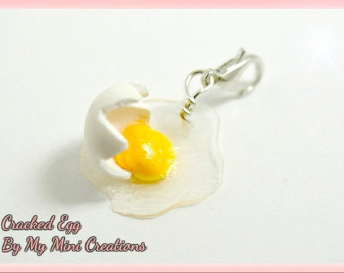Cracked Egg Charm, Miniature Food, Miniature Food Jewelry, Polymer Clay