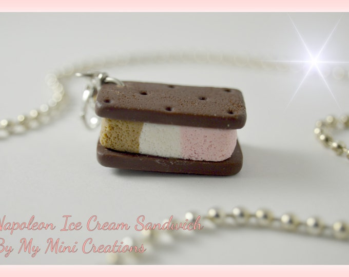 Napoleon Ice Cream Sandwich Necklace , Miniature Food, Food Jewelry, Miniature Food Jewelry, Ice Cream Charm