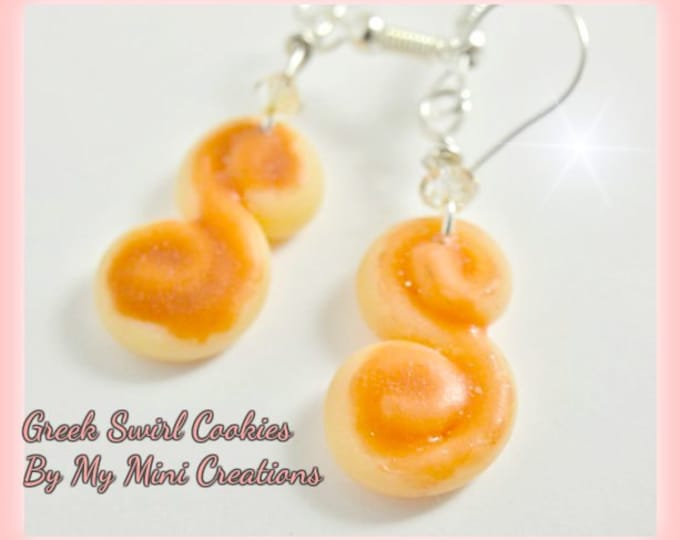 Greek Cookie Earrings, Miniature food jewelry, Miniature food