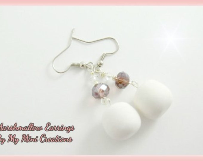 Marshmallow Earrings, Miniature Food, Miniature Food Jewelry, Polymer Clay