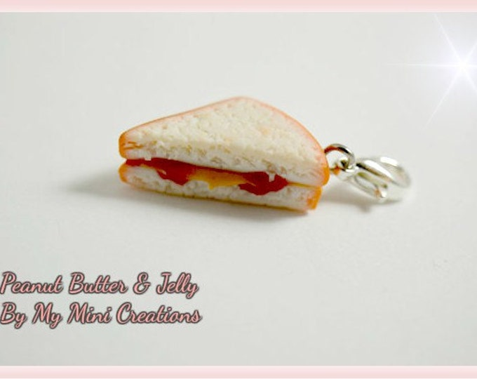 Peanut Butter & Jelly Sandwich Charm, Miniature Food, Miniature Food Jewelry, Food Jewelry