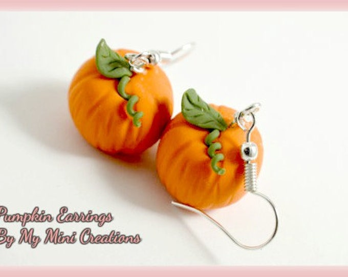 Pumpkin Earrings, Polymer Clay,  Miniature Food, Miniature Food Jewelry, Halloween, Fall