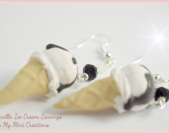 Vanilla Ice Cream Topped With Chocolate Earrings, Miniature Food, Miniature Food Jewelry, Food Jewelry
