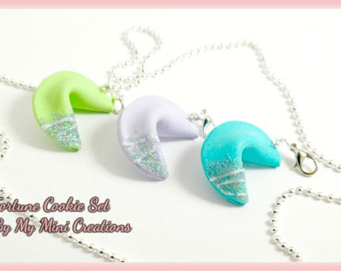 Fortune Cookie Charm Set, Miniature Food, Miniature Food Jewelry, Food Jewelry