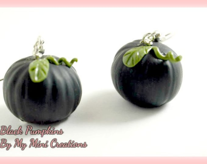Black Pumpkin Earrings,Polymer Clay,  Miniature Food, Miniature Food Jewelry