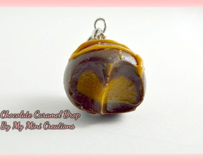 Chocolate Caramel Drop Charm, Polymer Clay, Miniature Food, Miniature Food Jewelry