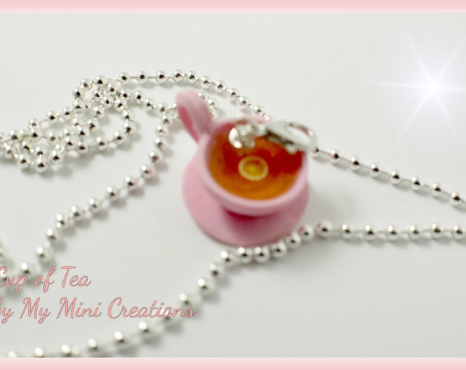 Cup of Tea Necklace, Polymer clay, Miniature food, Miniature Food Jewelry