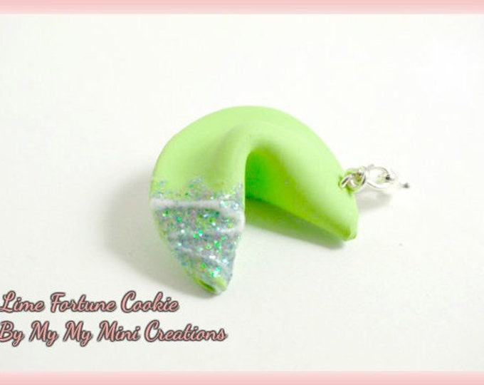 Lime Fortune Cookie Charm, Miniature Food, Miniature Food Jewelry, Food Jewelry
