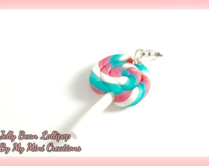 Jelly Bean Lollipop Charm , Miniature Food, Food Jewelry, Miniature Food Jewelry