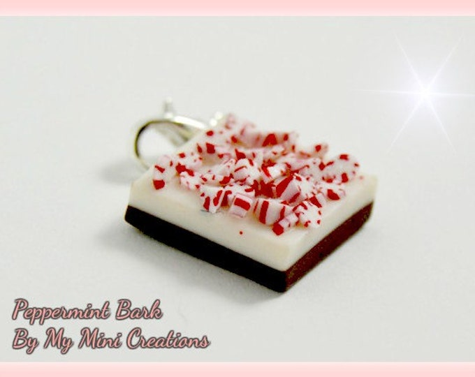 Peppermint Bark Charm, Polymer Clay,  Miniature Food, Miniature Food Jewelry, Christmas Food