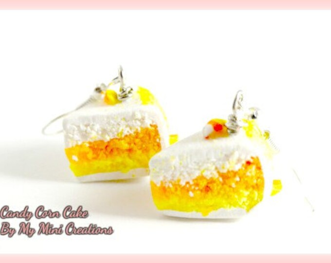 Candy Corn Cake Earrings Miniature Food, Food Jewelry,  Miniature Food Jewelry