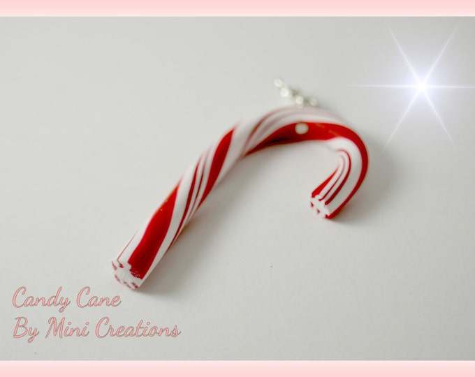 Candy cane charm, Polymer clay, Christmas charm, Miniature food, miniature food jewelry