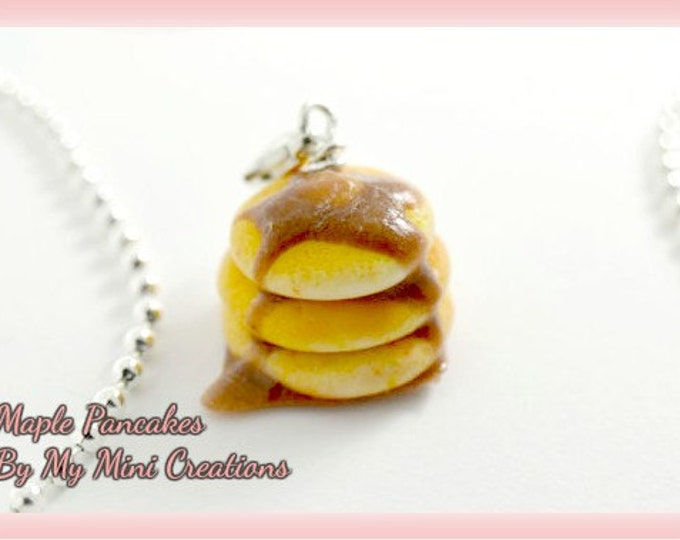 Maple Syrup Pancake Charm, Polymer Clay, Miniature Food, Miniature Food Jewelry
