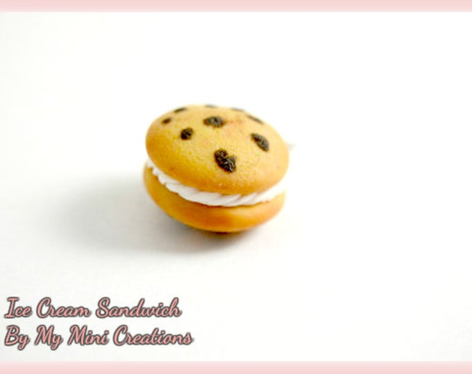 Ice Cream Sandwich Charm , Miniature Food, Food Jewelry, Miniature Food Jewelry