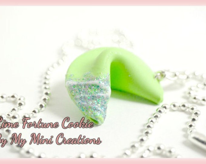 Green Fortune Cookie Necklace, Miniature Food, Miniature Food Jewelry, Food Jewelry