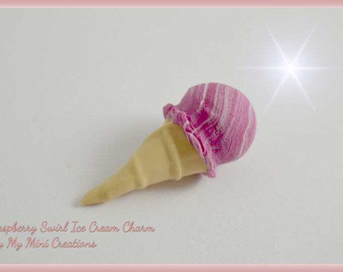 Raspberry Swirl Ice Cream Charm , Miniature Food, Food Jewelry, Miniature Food Jewelry