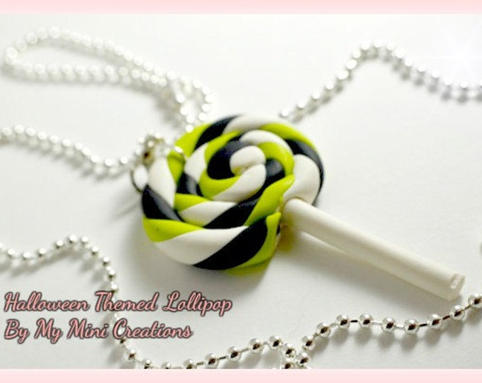 Halloween Themed Lollipop Necklace, Miniature Food, Food Jewelry, Miniature Food Jewelry