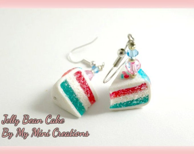 Jelly Bean Cake Earrings , Miniature Food Jewelry,  Miniature Food