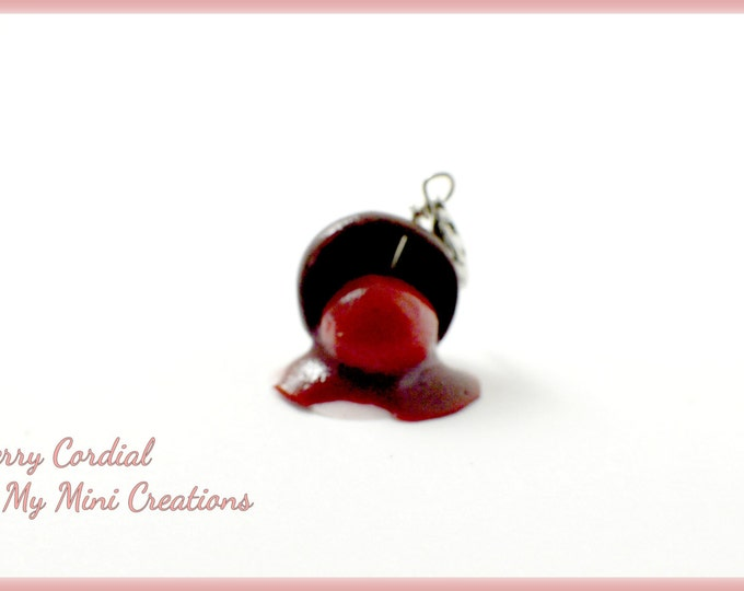 Cherry Cordail Charm, Polymer clay, Miniature food, Miniature Food Jewelry